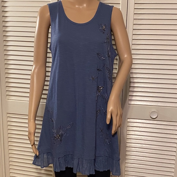 LOGO by Lori Goldstein Beaded Blue Tunic MEDIUM